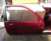 RENAULT CLIO O/S/F DRIVER SIDE FRONT DOOR - BURGUNDY -  NEXT DAY