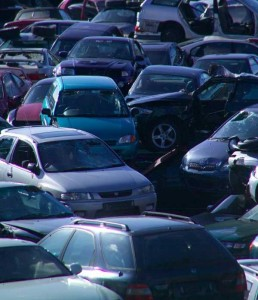 Cars awaiting recycling